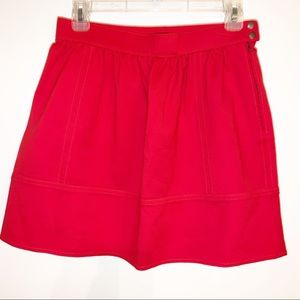 Madewell Red Miniskirt Size 4 Side Buttons